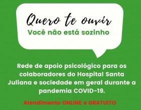 Hospital Santa Juliana cria rede de apoio psicológico